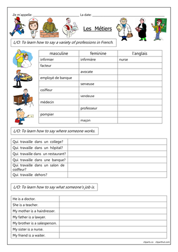 FRENCH - Jobs - Les Métiers - Worksheets