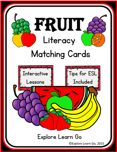 Fruit Literacy Matching Cards & Lessons / Montessori Style / Hands-on