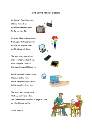 My Family Is Fond Of Gadgets Poem And Sorting Task