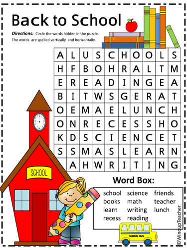 Back to School Word Search · The Typical Mom