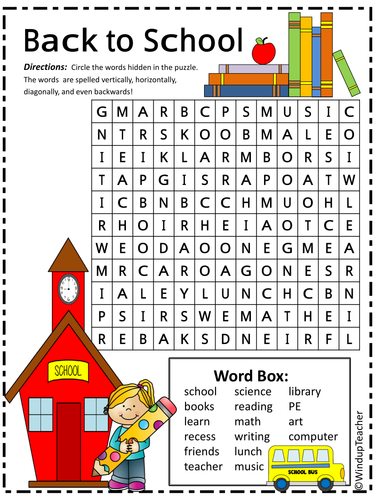This is a photo of Divine Back to School Word Search Printable