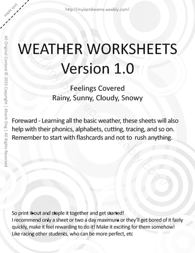 MLD - Basic Weather Worksheets - Full Set - Letter Sized