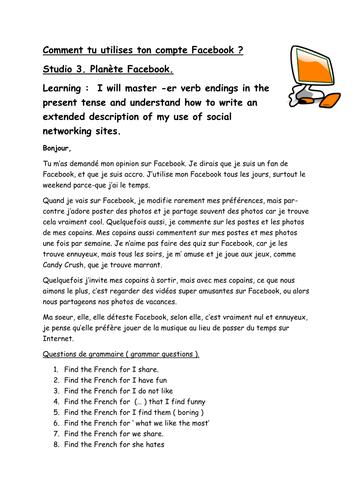 Planet Facebook Reading and Grammar comprehension