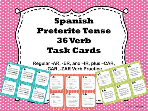 Spanish Preterite Tense Regular Verb Task Cards by emiliegdr ...