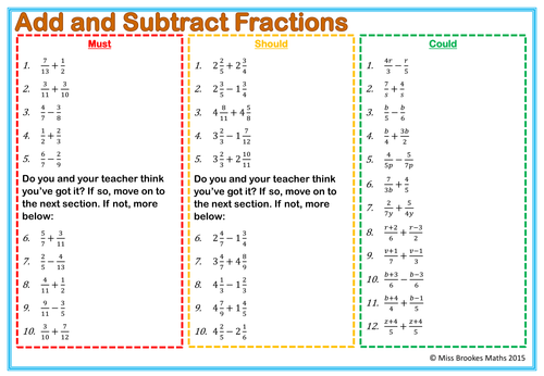 Fractions Worksheets Normal and Algebraic Equivalent – Year 7 Fraction Worksheets