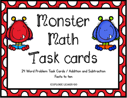Monster Math Task Cards for Addition and Subtraction Facts to Ten