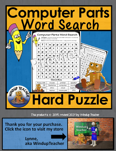computer parts word search hard by windupteacher teaching resources tes. Black Bedroom Furniture Sets. Home Design Ideas