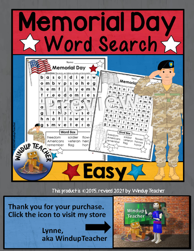memorial day word search easy by windupteacher teaching
