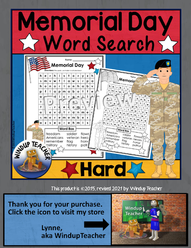 memorial day word search hard by windupteacher teaching
