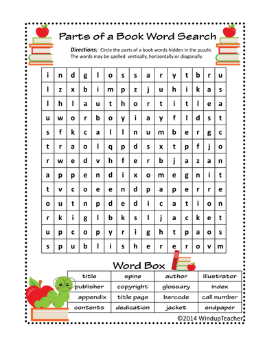 Parts of a Book Word Searches - 2 levels