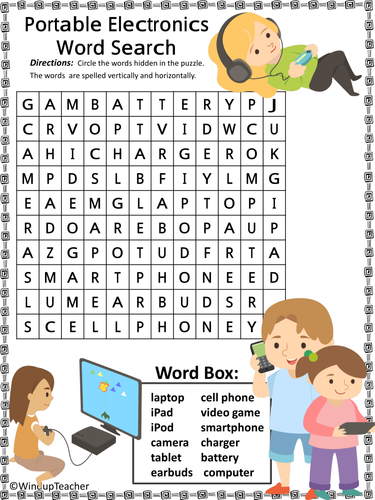 Portable Electronics Technology Word Search - 2 levels