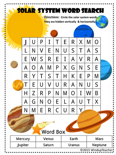 solar system word search - photo #18