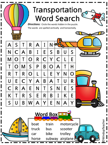 Transportation Word Search - 2 levels of difficulty