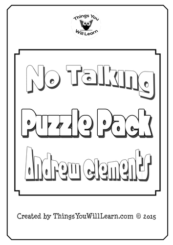 No Talking by Andrew Clements Comprehension Crosswords