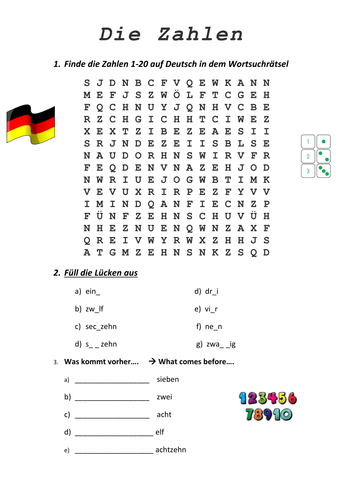 die zahlen german numbers worksheet by kimmccarney. Black Bedroom Furniture Sets. Home Design Ideas