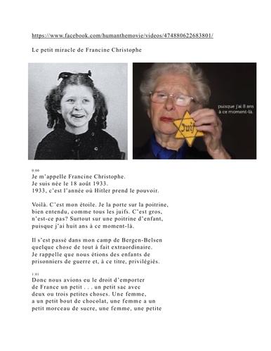 L'écrivaine, Francine Christophe, raconte un petit miracle vécu à Bergen-Belsen