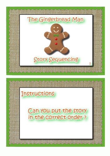 """EYFS Story Sequencing """"The Gingerbread Man"""""""