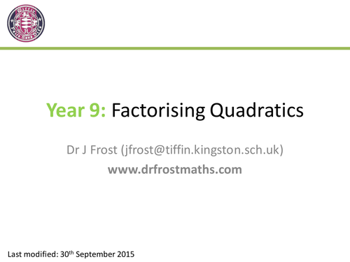 Factorising Quadratic and other Expressions by DrFrostMaths – Factoring Quadratic Worksheet