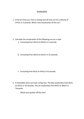 Velocity And Acceleration Worksheet - Tecnologialinstante