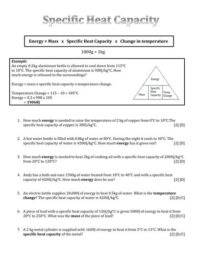 Worksheet Specific Heat Worksheet differentiated specific heat capacity calculation questions by questions
