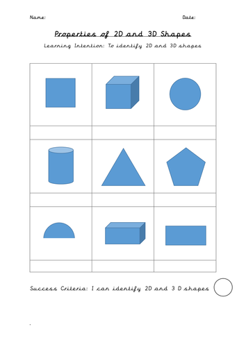 2D and 3D Shapes Shapes Worksheets (3x differentiated)
