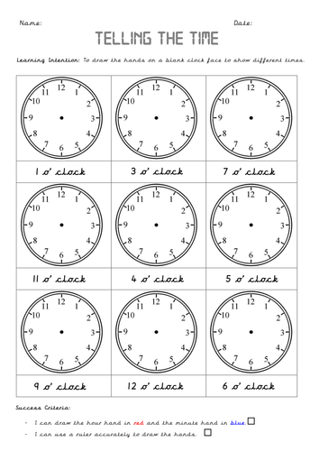 Year 1 Time (4 lessons including SMART slides and differentiated worksheets)