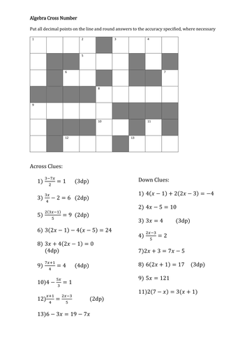 how to play cross number puzzle