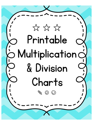 Printable Multiplication & Division Fact Charts