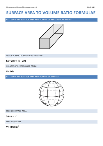 Ocr biology 2015 maths skills surface area and volume of ocr biology 2015 maths skills surface area and volume of assorted shapes by seredio teaching resources tes ccuart Images