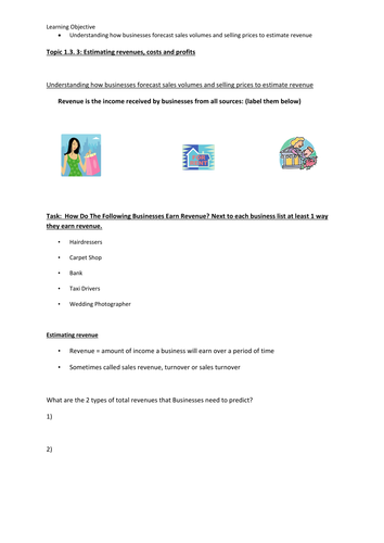 Business Studies Finance worksheets