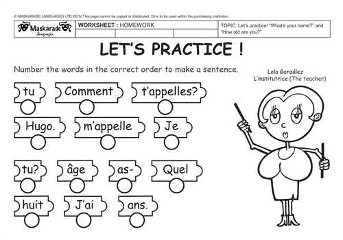 FRENCHABOUT YOU Comment tu tappelles Quel ge astu Comment – French Worksheets