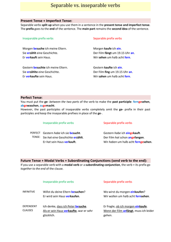Separable vs inseparable verbs (visual handout) + example phrases