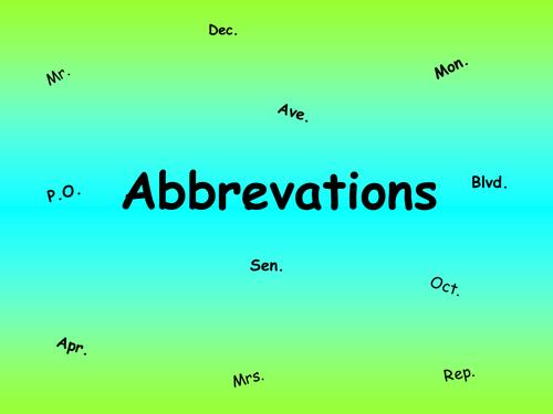 Abbreviations PowerPoint & Worksheet