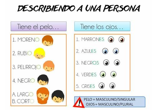 Spanish basic description Level A1 Physical descriptions. Game/Review activity