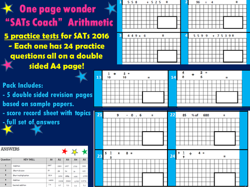 """SATs Revision Practice Tests - Arithmetic - KS2 Maths -  """"One Page Wonder!"""""""
