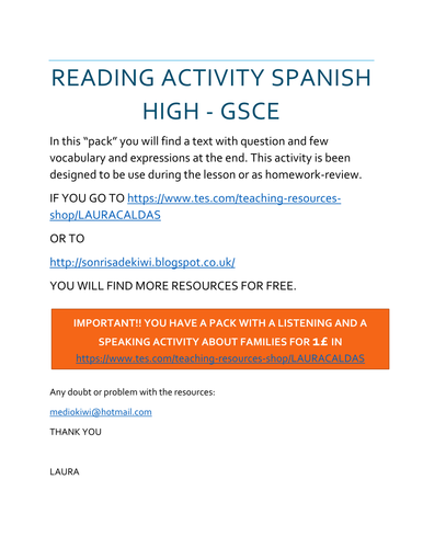 MI FAMILIA GCSE LECTURA CON PREGUNTAS / MY FAMILY SPANISH GCSE REVIEW READING WITH QUESTIONS