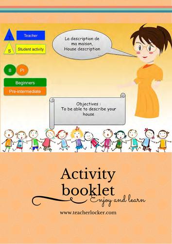 French Resource Describe your house Lesson + exercise / Decrire sa maison en francais (no prep)