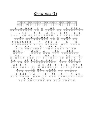 Alternative Christmas Cryptograms Teaching Resources