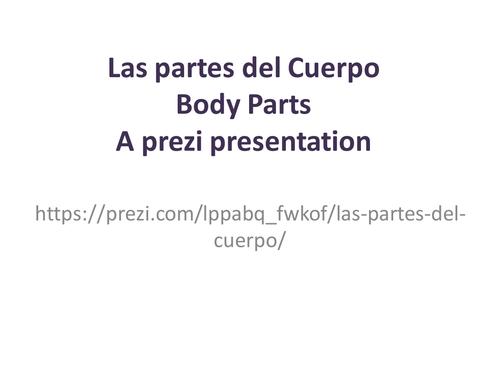 Las partes del cuerpo. Body Parts in Spanish. A prezi presentation.