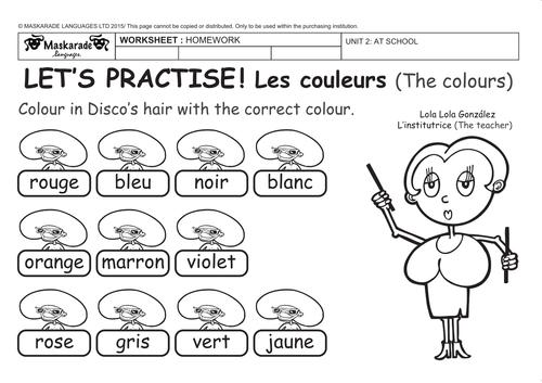 FRENCH-UNIT:AT SCHOOL: couleurs/colours/ Ma famille/family/ numéros 0-100/numbers/ La météo/weather/