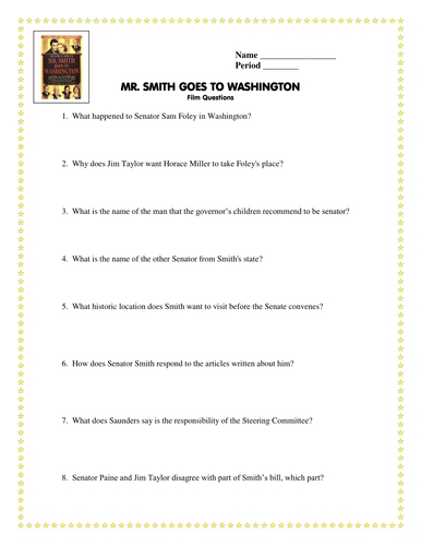 Mr. Smith Goes to Washington Film Questions (Civics) by ...