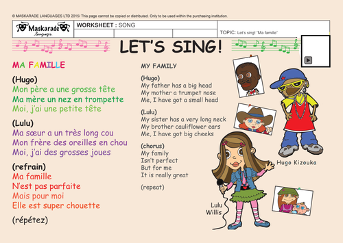 FRENCH-Y4/5- AT SCHOOL: Describing my family/ Je décris ma famille/ Chantons! Ma famille!