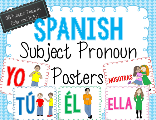 Spanish Subject Pronoun Posters by emiliegdr Teaching Resources – Subject Pronouns in Spanish Worksheet