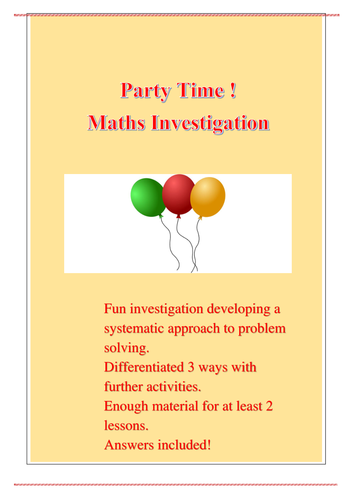 Party Time Maths Investigations