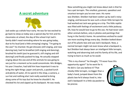 """""""A Secret Adventure"""". Year 2, 3, 4 or 5 fiction /  story / comprehension, with activity page."""