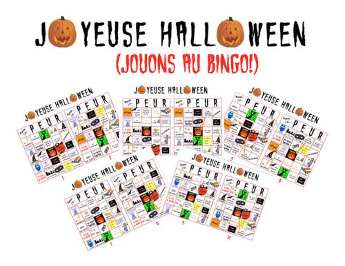 10 French Bingo Cards for Hallowe'en