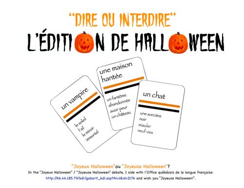 DIRE OU INTERDIRE?  (Un jeu comme Taboo): L'édition de Halloween