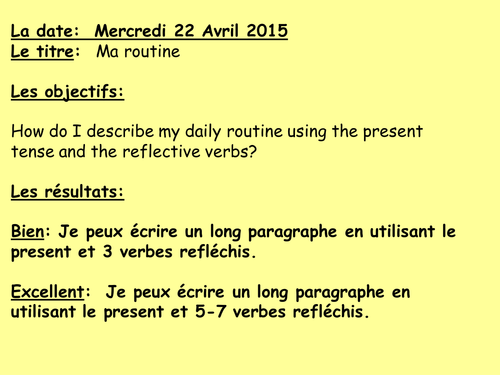 Reflective verbs and routine