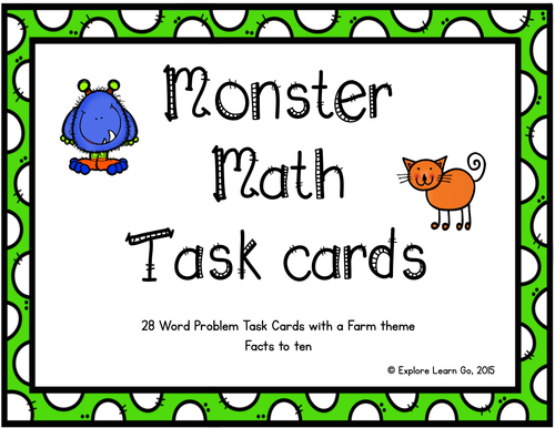 Monster Math Task Cards for Addition and Subtraction Facts to Ten / Farm Theme