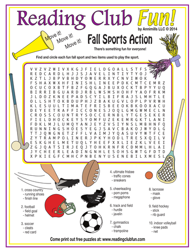 Fall Sports Word Search Puzzle | Teaching Resources